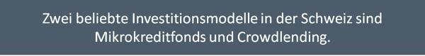 Zwei beliebte Investitionsmodelle in der Schweiz sind Mikrokreditfonds und Crowdlending.